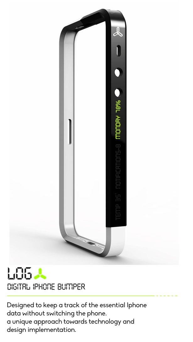 LOG苹果手机保护套是一款创新产品,在设计期间,设计师们都得考虑到各个方面。它是一款电子苹果手机的保护套,能够通知使用者各种日常信息的更新。 这个手机保护套的保险杠结构一分为二的目的是为了结合数字化接口,这样使用者就可以在不必打开手机的情况下就可以读取更新了。使用者可以通过手势运用基本的技术执行,这是为了让日常的通知显示在手机的侧面。这样一来在一个繁忙的会议中,别人就都不知道你在用手机了。你还可以由此通晓时间和日期的动态以及手机上的其他功能,例如用电量、短信通知、邮件甚至是温度。   像LOG这样的产品并