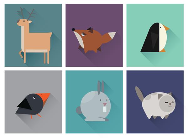 几何图形构成的UI动物