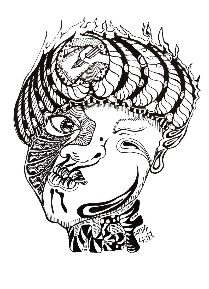 《黑白插画自画像》_设计师原创作品_设区网