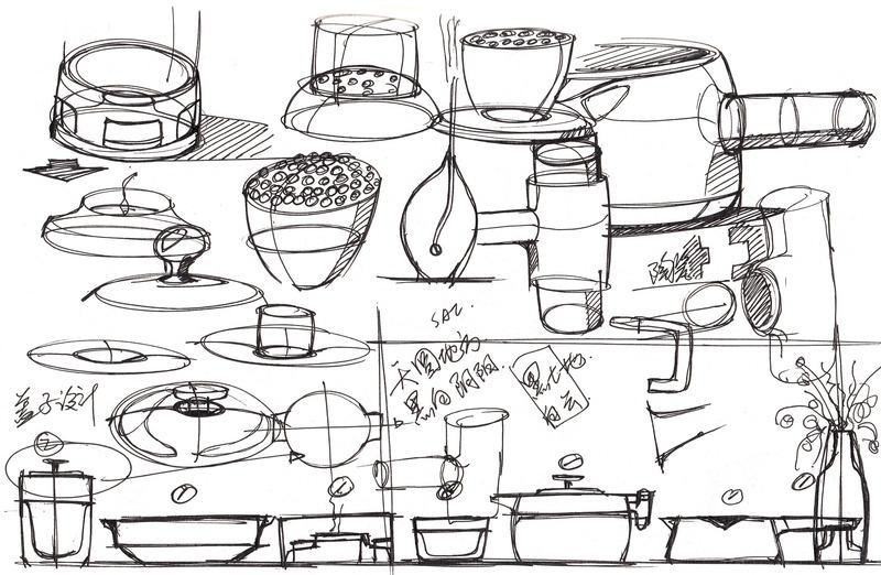 茶具设计图手绘展示