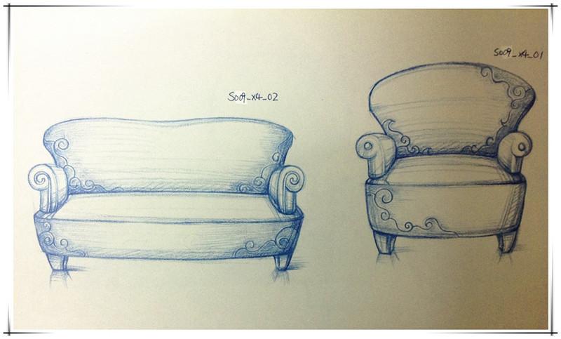 产品设计沙发手绘三视图分享展示