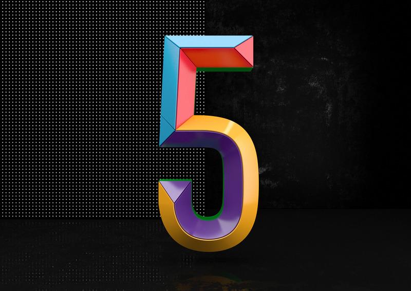 七彩数字字体设计图片