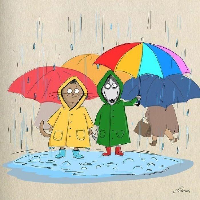 五颜六色的雨伞,雨靴,还有那可爱温暖的针织毛衣
