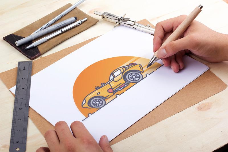 黄色闪电 小跑车插画图标高清图片