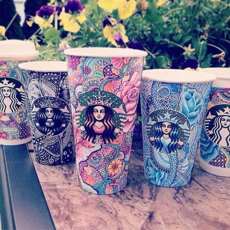 星巴克咖啡杯手绘涂鸦