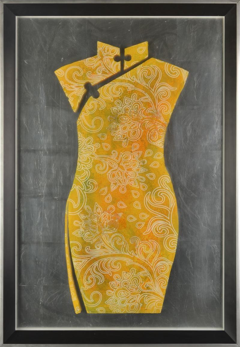 玻璃裂彩画 旗袍 花裙图片