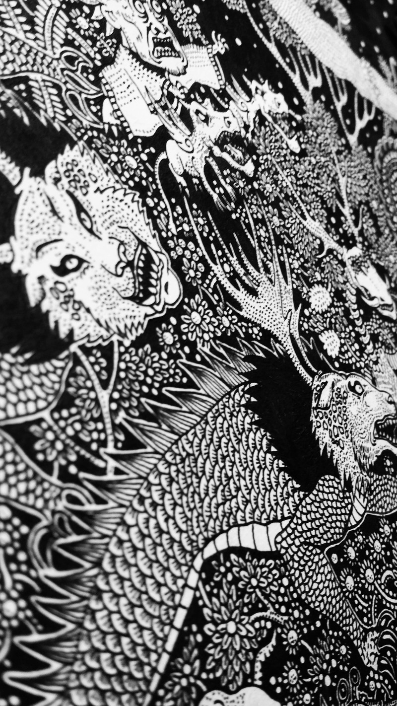 森林与鹿黑白手绘