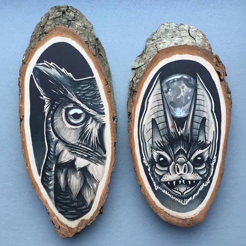 木块上的动物绘画