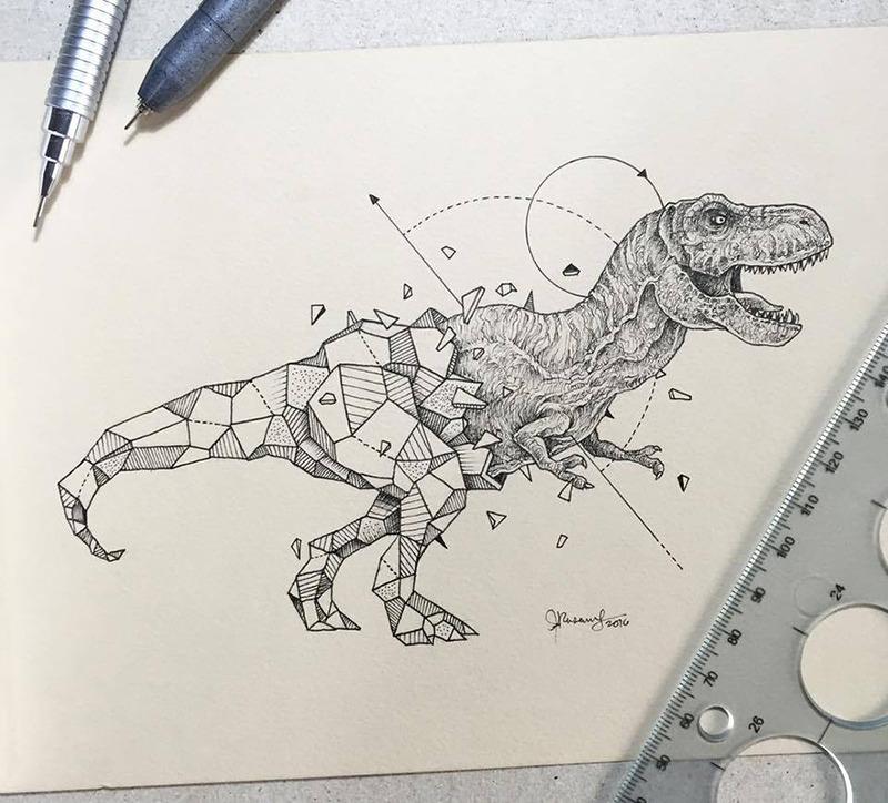 融合几何体的动物手绘