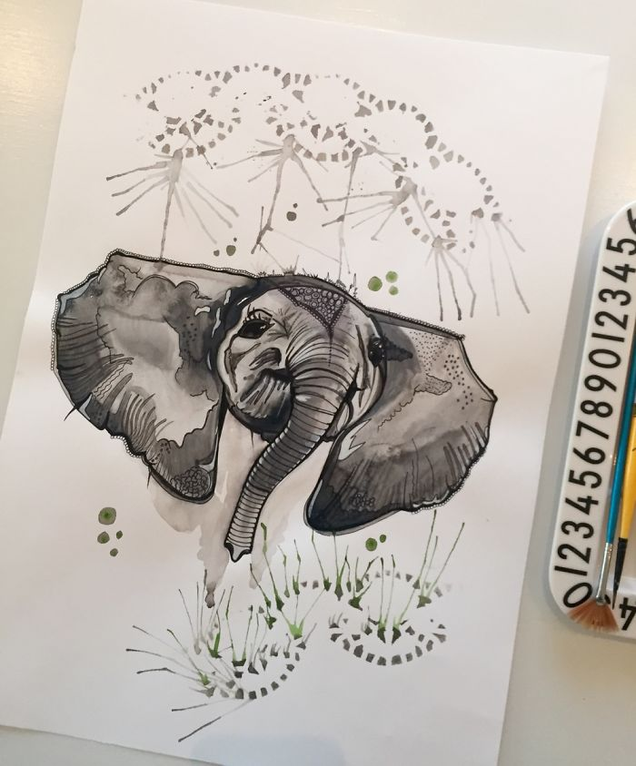 水彩动物插画