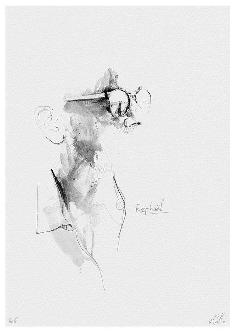 黑白铅笔肖像画