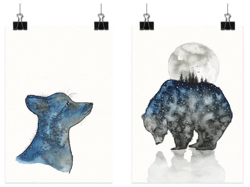 星空动物插画_灵感_设区网