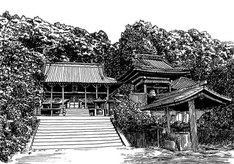 日本风景黑白钢笔画_灵感