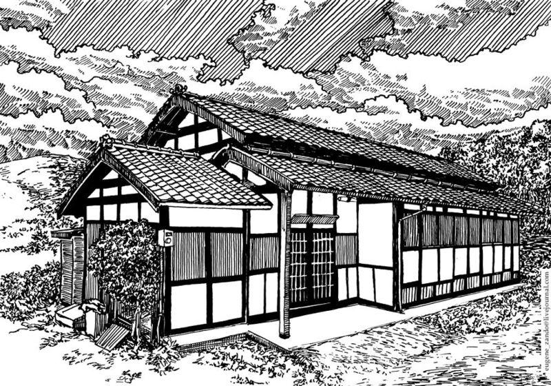 日本风景黑白钢笔画