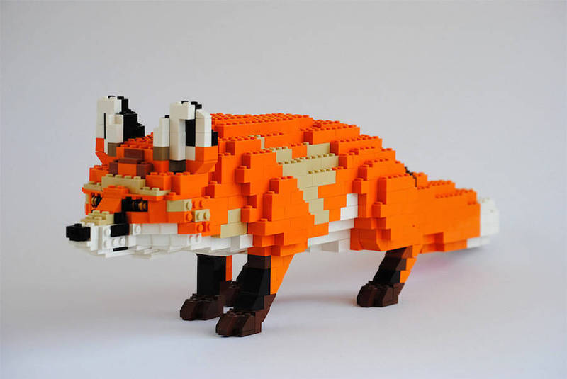 乐高积木狐狸图纸