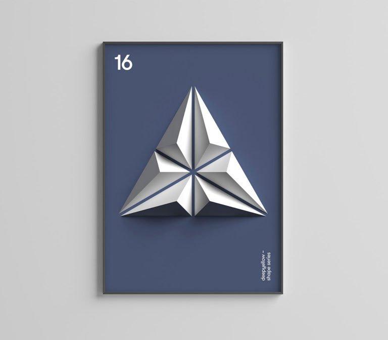 设计工作室发布了一组简单的海报照片,它们有者漂亮的抽象3d图形.